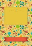 Floral greeting card with banners for custom text royalty free stock images