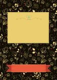 Floral greeting card with banners for custom text stock photography
