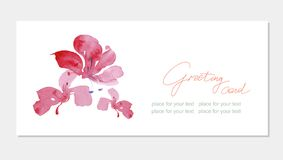 Floral greeting card with beautiful pink  flovers Stock Images