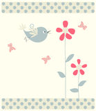 Floral greeting card with bird Stock Image