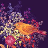 Floral Greeting Card with Birds and Branches Stock Images