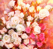 Floral greeting card with bouquet of sunny white and pink roses Stock Photos