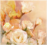 Floral greeting card with bouquet of white  roses Royalty Free Stock Images