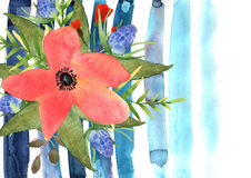 Floral greeting card with colorful flowers and blue strip drawn Royalty Free Stock Images