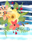 Floral greeting card with colorful flowers and blue strip drawn Stock Images