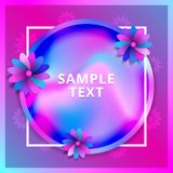 Floral Greeting card. Design concept with colored paper flowers. Holiday holographic foil colors background. Vector Royalty Free Stock Image