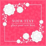 Floral Greeting card. Design concept with white paper flowers. Holiday background with Ilove you text. Vector Royalty Free Stock Photography