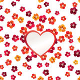 Floral Greeting Card Flower frame with love heart Stock Photos