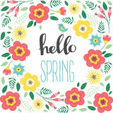Floral greeting card with flowers. Hello spring. Vector illustration Stock Images