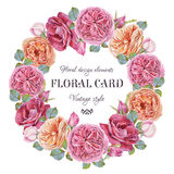 Floral greeting card with a frame of watercolor roses Royalty Free Stock Images