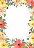 Floral greeting card. Frame for your text with flowers in waterc Royalty Free Stock Photo