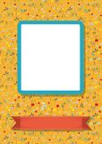 Floral frame for picture with banner for text. Floral greeting card. Graceful blossoming dandelions. Blue frame for custom photo. Red banner for custom text Royalty Free Stock Images
