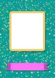 Floral frame for picture with banner for text. Floral greeting card. Graceful blossoming dandelions. Yellow frame for custom photo. Purple banner for custom text Royalty Free Stock Photography
