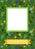 Floral frame for picture with banner for text. Floral greeting card. Graceful colorful silhouettes of flowers and plants. Green frame for custom photo. Yellow Royalty Free Stock Photos