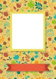 Floral frame for picture with banner for text. Floral greeting card. Graceful colorful silhouettes of flowers and plants. Yellow frame for custom photo. Red Royalty Free Stock Photography