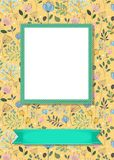Floral frame for picture with banner for text Stock Photos