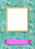 Floral frame for picture with banner for text. Floral greeting card. Graceful watercolor flowers and plants. Yellow frame for custom photo. Purple banner for Royalty Free Stock Images