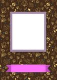 Floral frame for picture with banner for text. Floral greeting card. Graceful yellow flowers and plants with drawing effect. Purple frame for custom photo. Pink Royalty Free Stock Photo