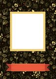 Floral frame for picture with banner for text. Floral greeting card. Graceful yellow flowers and plants with drawing effect. Yellow frame for custom photo. Red Royalty Free Stock Photography