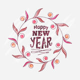 Floral greeting card for Happy New Year. Beautiful floral design decorated greeting card for Happy New Year celebration Stock Image