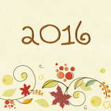Floral greeting card for Happy New Year. Beautiful floral design decorated greeting card for Happy New Year 2016 celebration Royalty Free Stock Images