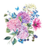 Floral Greeting Card with Hydrangea Royalty Free Stock Photography