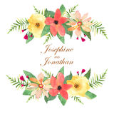 Floral greeting card, invitation, banner. Frame for your text wi. Th flowers drawing watercolor Royalty Free Stock Photography