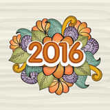 Floral greeting card for New Year 2016 celebration. Royalty Free Stock Photo