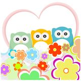 Floral greeting card with owls Stock Photography