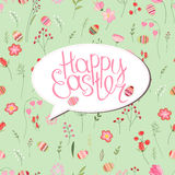 Floral greeting card with phrase Happy easter. Royalty Free Stock Images