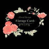 Floral greeting card with red roses Stock Images