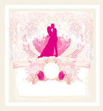 Floral greeting card with silhouette of romantic couple Stock Photography
