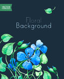 Floral Greeting Card Template with Blue Blooming Flowers. Stock Photo
