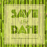 Floral greeting card with the text Save the date Hand-drawn green bamboo seamless background Royalty Free Stock Photos