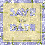 Floral greeting card with text Save the date. Seamless pattern with festive flower phlox divaricata bouquet ornament Royalty Free Stock Images