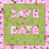 Floral greeting card with text Save the date. Seamless pattern  Stock Photos