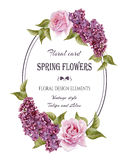 Floral greeting card in vintage style Royalty Free Stock Images