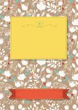 Floral greeting card with banners for custom text stock photos