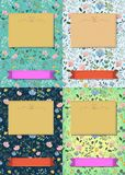 Floral greeting cards with banners for custom text stock photos