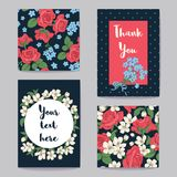 Floral Greeting Cards Set. Vector illustration. Floral Greeting Cards Set Collection. Red roses with white cherry tree flowers and forget me not flowers. Vector Vector Illustration