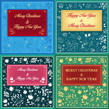 Floral greeting christmas cards Royalty Free Stock Image
