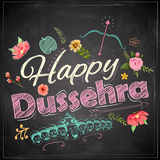 Floral greeting for Happy Dussehra Navratri festival of India on chalkboard stock illustration