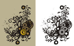 Floral grunge background. Floral abstract background with circle and grunge elements. Color and black and white versions available Stock Image