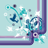 Floral grunge background. Floral grunge  background with an exotic bird, designed in blue, violet, mauve and white colors Stock Images