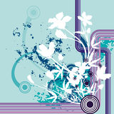 Floral grunge background. Floral grunge  background in blue, violet, mauve and white colors Stock Photo