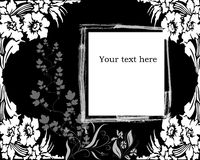 Floral grunge background. Black and white floral grunge background with room for text vector illustration