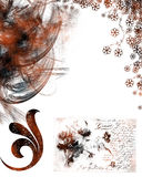 Floral grunge background. With swirls and text stock illustration