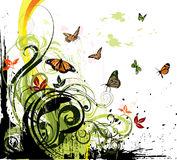 Floral grunge background. Grungy floral illustration with a lot of colorful butterflies Royalty Free Stock Photo