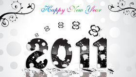 Floral & grunge  background  with new year 2011 Stock Images