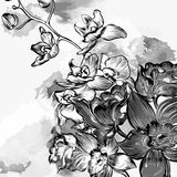 Floral grunge background with orchids in grey watercolor style Royalty Free Stock Images